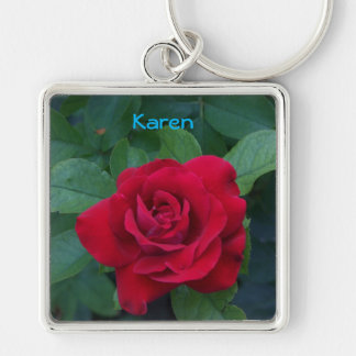 Red Rose Up Close Key Ring