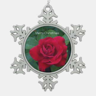 Red Rose Up Close Snowflake Pewter Christmas Ornament