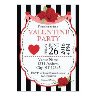 Red Rose Valentine Party Invitation