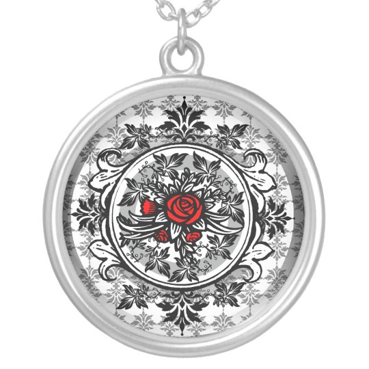 Red Rose Vine Vintage Necklace