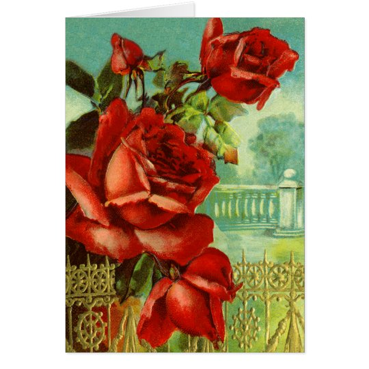 Red Rose Vintage Valentine Card