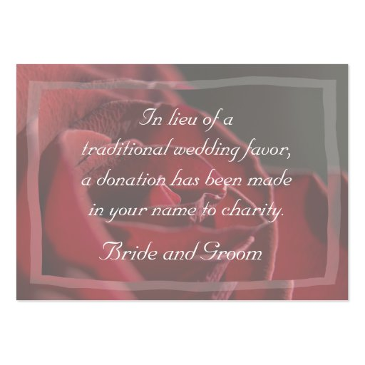 Red Rose Wedding Charity Donation Card Business Card