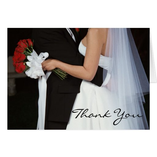 Red Rose Wedding Couple Thank You Note Card