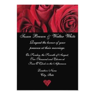 "Red Rose Wedding Invitation 5"" X 7"" Invitation Card"
