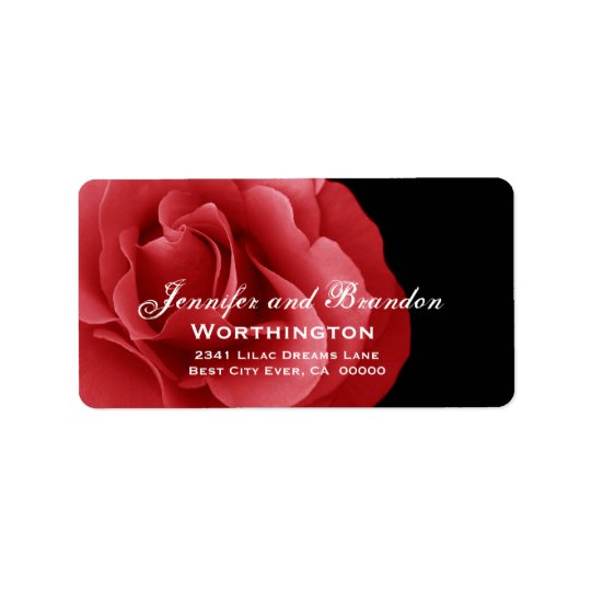 Red Rose Wedding Label