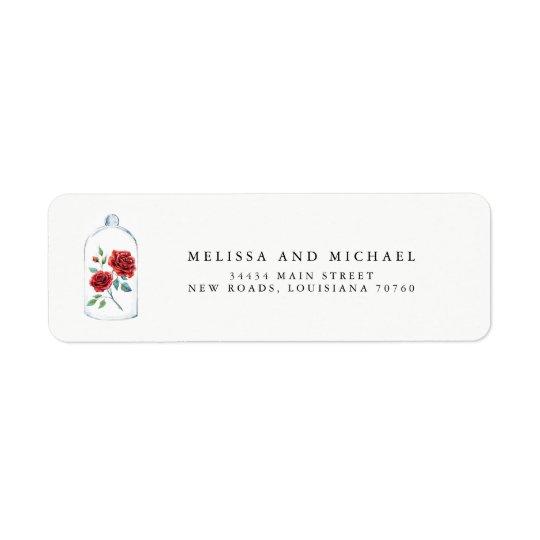 Red Rose Wedding Return Address Labels