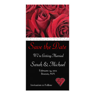 Red Rose Wedding Save the Date Card Personalized Photo Card