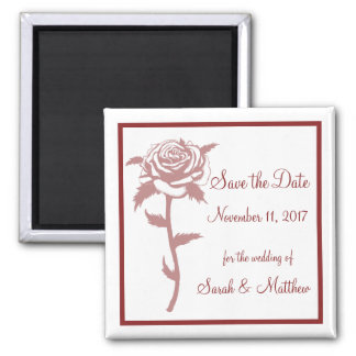 Red Rose Wedding Save the Date Magnet