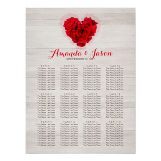 Red rose wedding seating chart poster hhn01