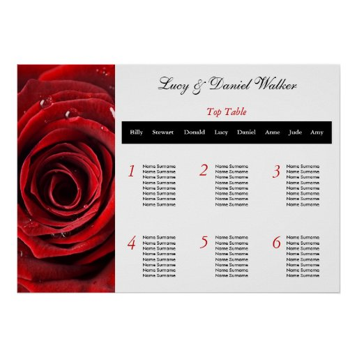 Red Rose Wedding Seating Table Plan Posters