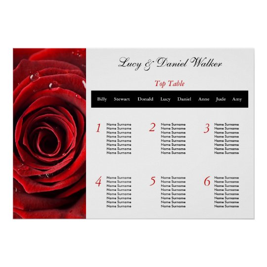 Red Rose Wedding Seating Table Plan Poster