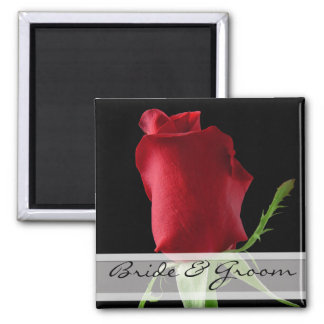 Red Rose Wedding Stickers Customize for Any Event- Square Magnet