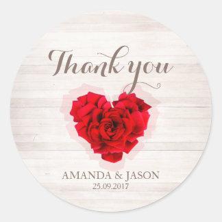 Red rose wedding thank you round sticker hhn01