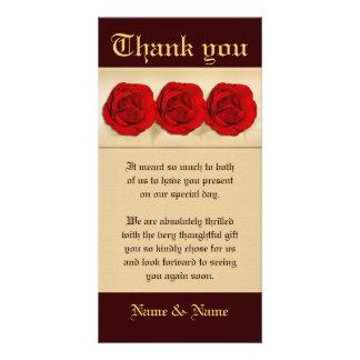 Red rose wedding trio   Personalized Custom Photo Card
