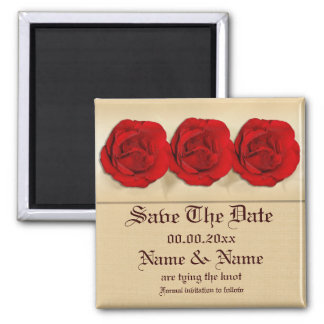Red rose wedding trio | Personalized Square Magnet