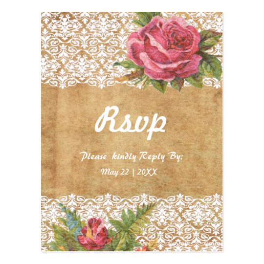 Red rose white lace with custom background postcard