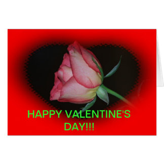 RED ROSE with a HEART VALENTINE'S DAY CARD