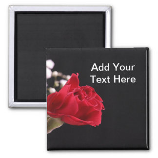 Red Rose with Baby Breath Square Magnet