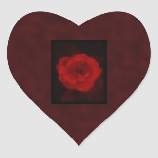 Red Rose. With Black and Deep Red. Heart Sticker