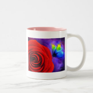Red Rose With Butterfly Painting Art - Multi Two-Tone Coffee Mug