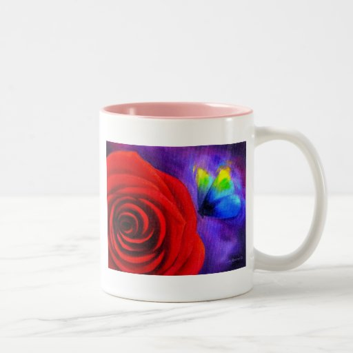 Red Rose With Butterfly Painting Art - Multi Coffee Mug