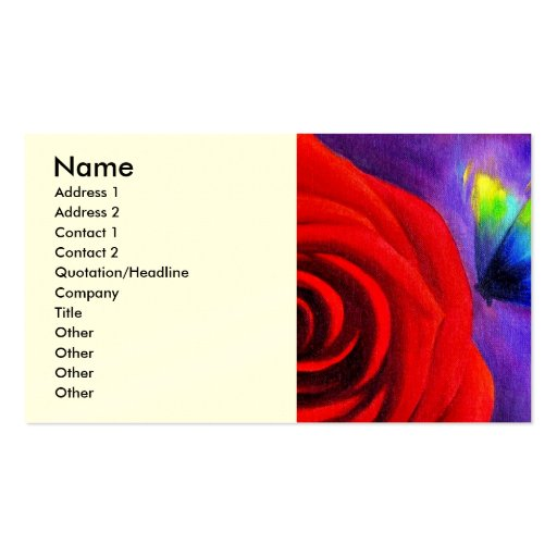Red Rose With Butterfly Painting Art - Multi Pack Of Standard Business Cards