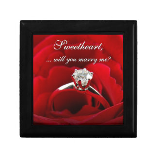 Red Rose with Diamond Ring Marriage Proposal Small Square Gift Box