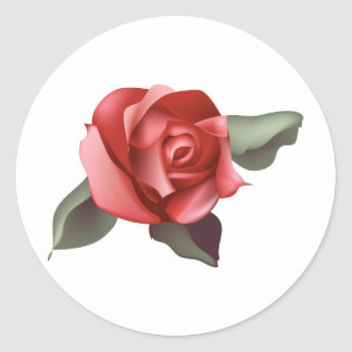 Red Rose with Leaves Round Sticker
