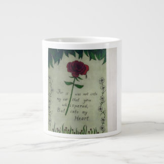 Red rose with tear drop and verse large coffee mug