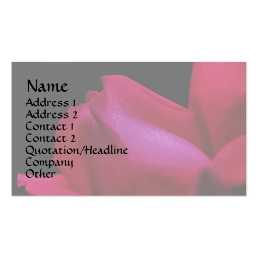 Red Rosebud Raindrops Floral Business Card