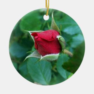 red rosebud round ceramic decoration
