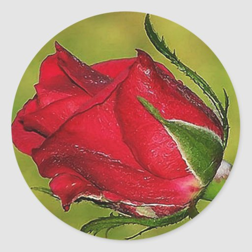 Red Rosebud Sticker