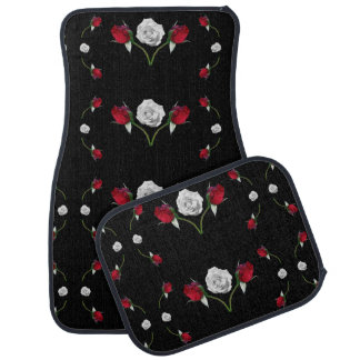 Red Rosebuds and White Roses Car Mat