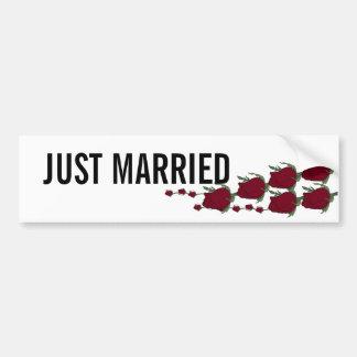 Red rosebuds Just Married Bumper Sticker
