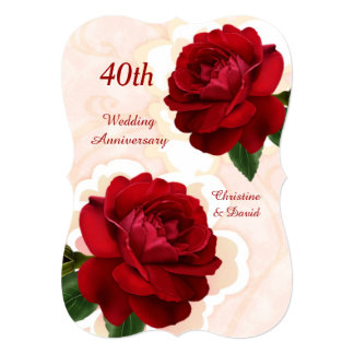 "Red roses 40th Ruby Wedding Anniversary Invitation 5"" X 7"" Invitation Card"
