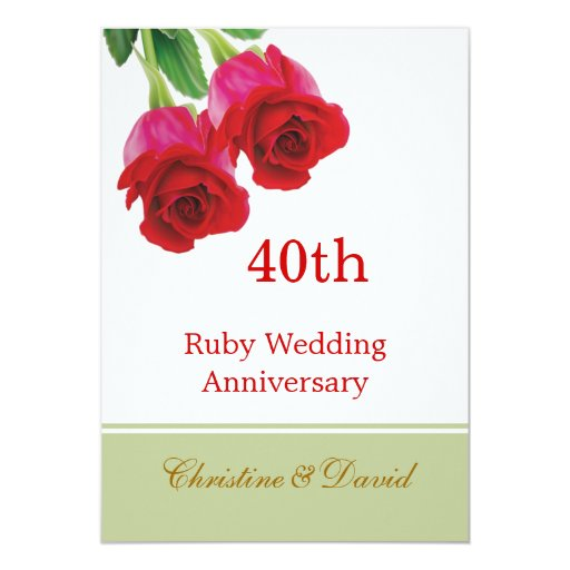 Unusual Ruby Wedding Anniversary Gifts Uk : Red roses 40th Ruby Wedding Anniversary Invitation Zazzle