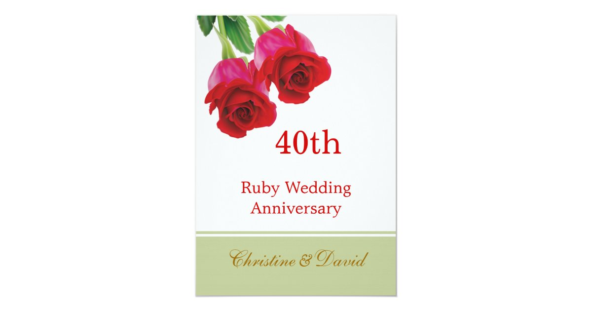 Ruby Wedding Gifts For Men: Red Roses 40th Ruby Wedding Anniversary Invitation