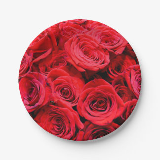 Red Roses 7 Inch Paper Plate