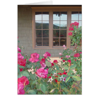 Red Roses and a reflection of the Mts. in windows Card