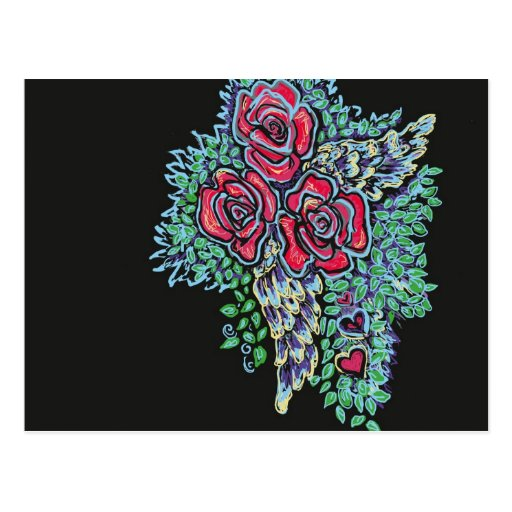 Red Roses and Angel Wings Postcard