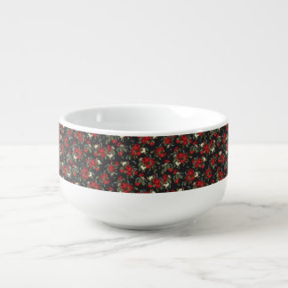 RED ROSES AND BABY BREATH FLORAL SOUP MUG