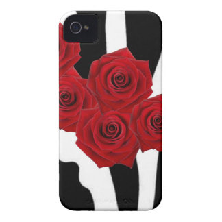 RED ROSES AND BLACK AND WHITE ZEBRA PRINT Case-Mate iPhone 4 CASE