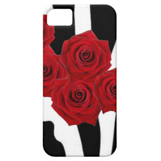 RED ROSES AND BLACK AND WHITE ZEBRA PRINT iPhone 5 COVER