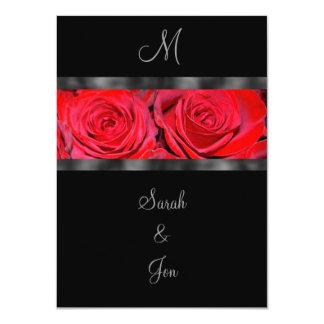 Red Roses and Black Monogram Wedding Invitation