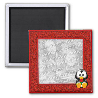 Red Roses and Cute Cartoon Penguin Photo Magnet
