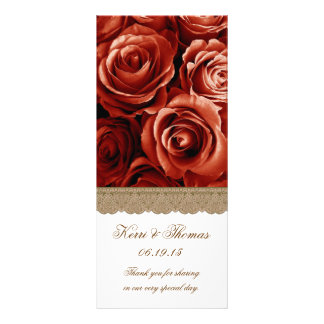 RED ROSES and GOLD LACE Wedding Program Full Colour Rack Card