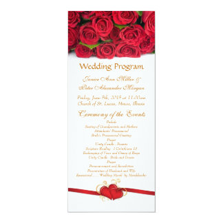 Red roses and heart Wedding Program 10 Cm X 24 Cm Invitation Card