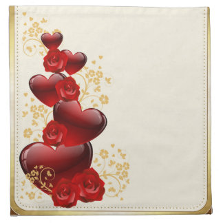 Red roses and hearts napkin