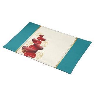 Red roses and hearts place mats