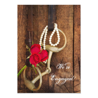 "Red Roses and Horse Bit Country Engagement Party 5"" X 7"" Invitation Card"